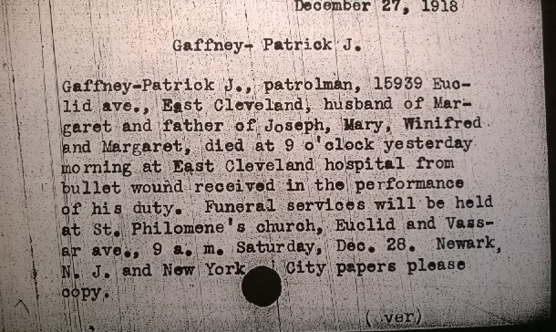 Patrick Gaffney's Obit. Card 1